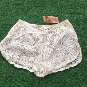 NWT Francesca's Sz s/m lace swimsuit coverup short